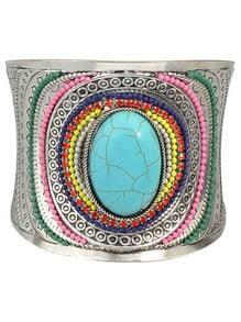 Blue Beads Gemstone Cuff Bangle
