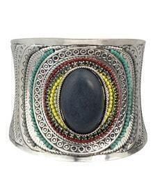 Black Beads Gemstone Cuff Bangle