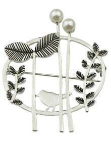 Silver Leaf Tree Bird's Brooches