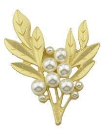 Gold Leaf Shape Pearl Brooch