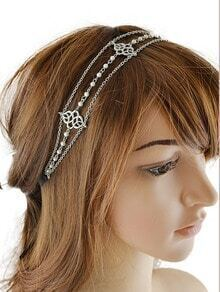 Silver Chain Ribbon Pearl Hairwear