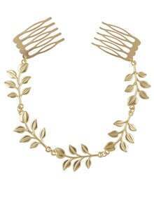 Gold Color Chain Leaf Hairwear