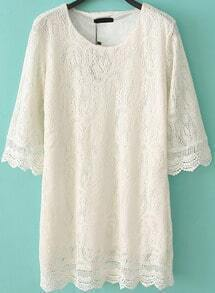 Round Neck Lace Shift White Dress