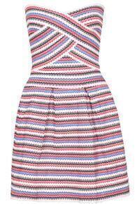 Strapless Striped Flare Dress