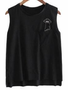 Black Pocket Kitty Embroidery Sleeveless T-shirt