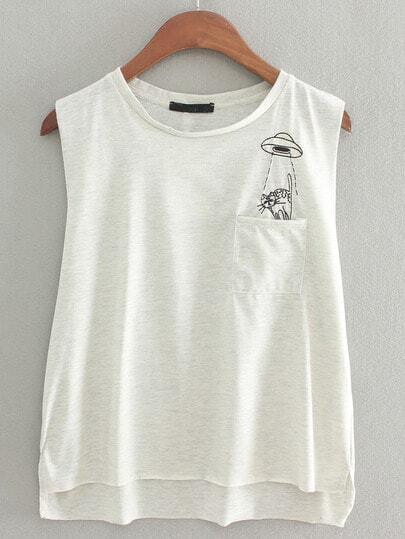 Grey pocket kitty embroidery casual t shirt shein sheinside