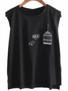 Black Dip Hem Birdcage Print Casual T-shirt