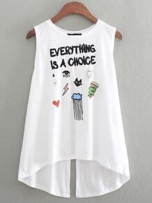 White Embroidery Cartoon Print Split Back T-shirt