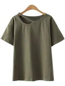 Army Green Short Sleeve Cut Out Casual T-shirt