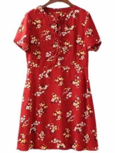 Vestido flores holgado -rojo