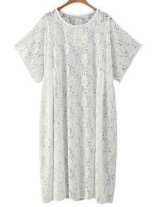 White Short Sleeve Loose Lace Dress