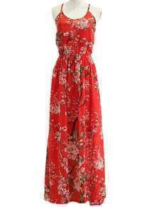 Red Floral Lace Up Backless Spaghetti Strap Maxi Dress