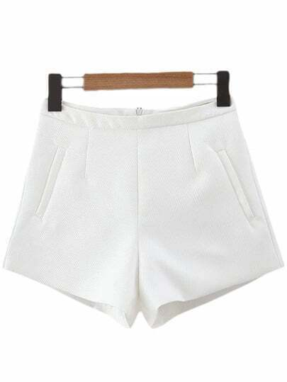 White Pockets Zipper Back Texture Shorts