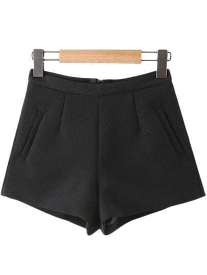 Black Pockets Zipper Back Texture Shorts