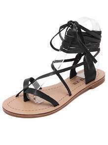 Black Lace Up Flip Sandals