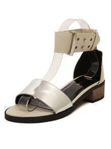 Metallic Thick Strap Buckled Apricot Sandals