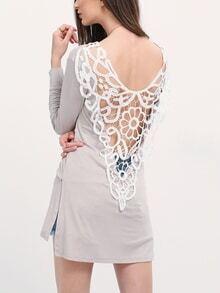 Crochet Inset Side Slit T-shirt Dress