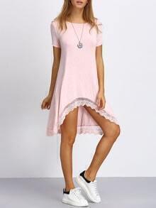 Lace Trimmed Dip Hem T-shirt Dress