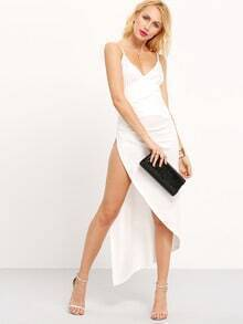 Deep V Ruched High Slit Cami Dress