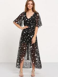 Star Print Self Belted Chiffon Long Dress