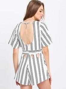 Deep V Striped Cutout Jumpsuits