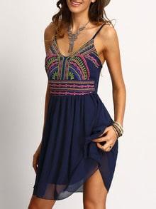 Spaghettiträger Kleid plissiert mit Druck und V-Ausschnitt -marine blau