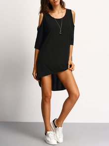 Black Open Shoulder High Low Dress