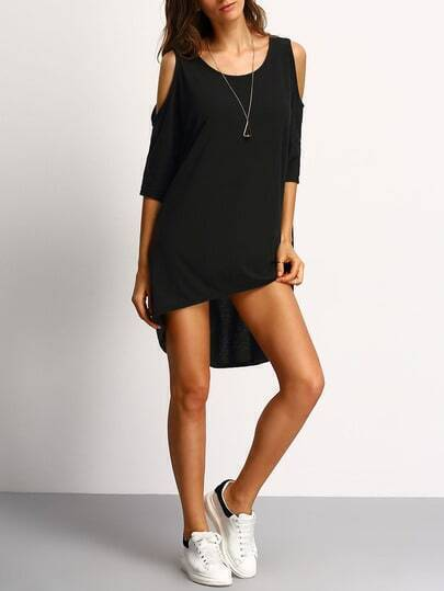 Black Open Shoulder High Low Dress