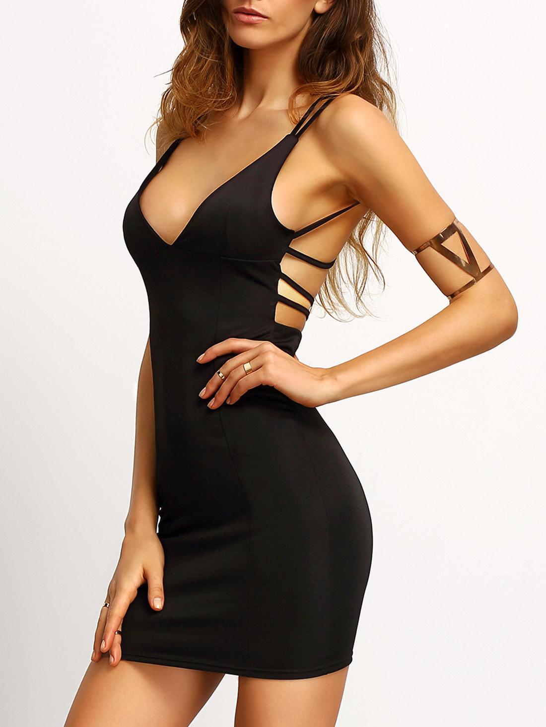 Купить Чёрное облегающее платье со спиной крест на крест, Mary, SheIn