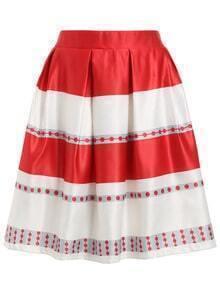 Striped Polka Dot Flare Skirt