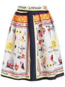 Graffiti Print Flare Skirt