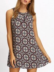 Multicolor Print Keyhole Back Shift Dress