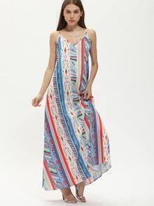 Multicolor Spagettic Strap Tribal Print Maxi Dress