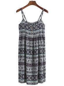 Spaghetti Strap Aztec Print Cami Dress