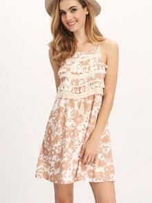 Brown Spagettic Strap Tassel Front Floral Pattern Dress