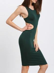 Dark Green Sleeveless Cut Out Bodycon Dress