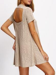 Apricot Round Neck Cut Out Back Casual Dress