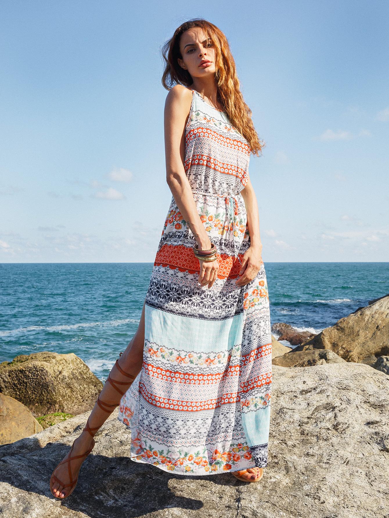 Фото Printed Slip Dress With Drawstring Waist. Купить с доставкой
