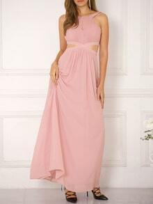 Pink Sleeveless Cut Out Front Flowy Maxi Dress