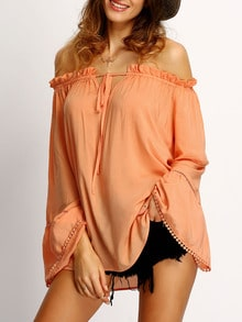 Orange Off The Shoulder Hollow Insert Pompom Blouse