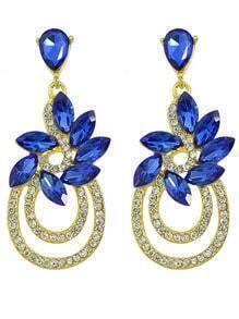 Gold Plated Blue Rhinestone Earrings