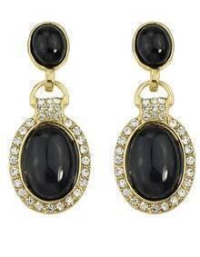 Black Rhinestone Drop Dangle Earrings