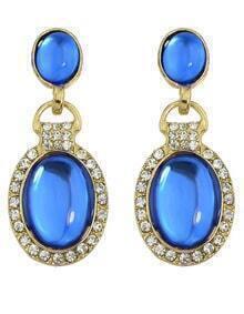 Blue Rhinestone Drop Dangle Earrings