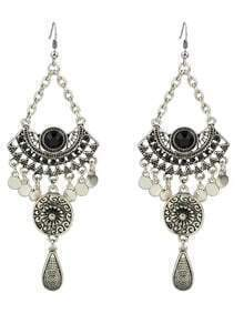 Black Rhinestone Big Chandelier Earrings