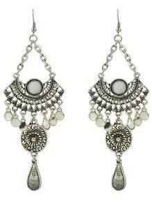 White Rhinestone Big Chandelier Earrings
