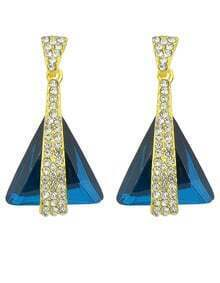 Blue Rhinestone Triangle Earrings
