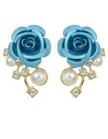 Pearl Blue Flower Stud Earrings