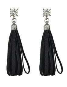Black Pu Lether Long Tassel Earrings