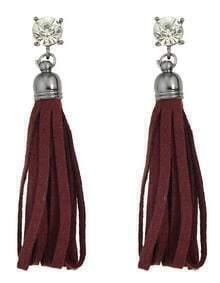 Red Pu Lether Long Tassel Earrings