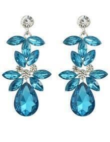 Blue Rhinestone Flower Drop Earrings